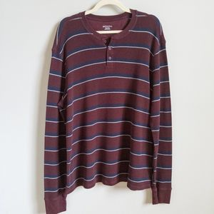 MERONA Red Long Sleeve Striped Thermal Henley XXL